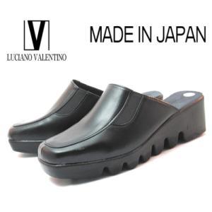 【セール】 ルチアノバレンチノ 3700 ブラック 厚底ミュール レディースサンダル 【S〜L】日本製|sanyuukutu