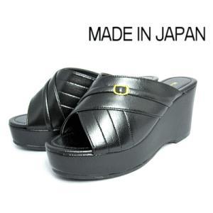 超特価【セール】 厚底ヘップ ブラック レディースサンダル 前開き【S〜L】日本製のツッカケ|sanyuukutu