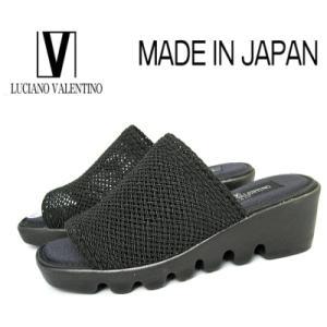 超特価【セール】 ルチアノバレンチノ 75453 ブラック 厚底ミュール レディースサンダル メッシュ クールビズ【S〜LL】日本製|sanyuukutu