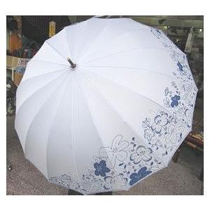 【セール】ワンタッチ ジャンプ傘<アンブレラ>雨傘 花柄 16本の骨 ブルー sanyuukutu
