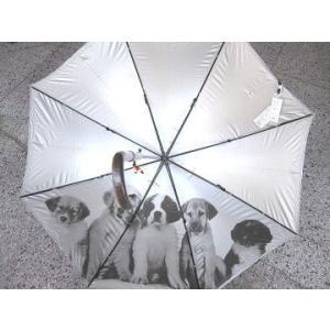 傘(かさ)日傘 雨傘 兼用 <アンブレラ>子犬 のプリント(裏地)ブラック sanyuukutu