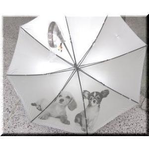 傘(かさ)日傘 雨傘 兼用 <アンブレラ>ダックスとチワワのプリント(裏地)ブラック<黒> sanyuukutu