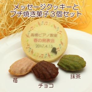名入れクッキー&プチ焼き菓子3個セット 名入れ スイーツ 音楽 ピアノ 発表会 記念品 ノベルティ プチギフト