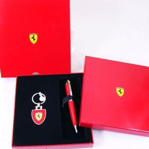 k フェラーリ&シェーファー ロッソコルサ ボールペン&キーリング ギフトセット 9503-2|saponintaiga
