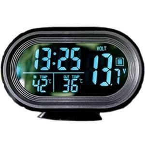 車載用多機能コンパクト時計 デジタル 電圧計/温度計/バックライト CarOver 4in1 VST-7009V|saponintaiga