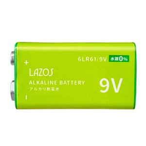 9V形 角電池 アルカリ乾電池 006P Lazos/0445x5個セット/卸/送料無料メール便|saponintaiga