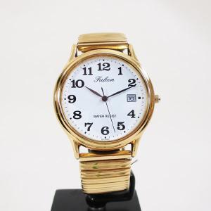 シチズン 腕時計 カレンダー付 蛇腹ベルト 日本製ムーブメント 5気圧防水 ゴールド 紳士/メンズ D014-004/3720/送料無料メール便|saponintaiga