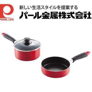 コンパクト ふっ素加工IH対応ガラス蓋付フライパン鍋セット1...