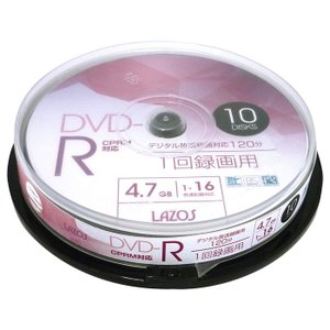 DVD-R 録画用 ビデオ用 10枚組 4.7GB スピンドルケース入 CPRM対応16倍速 ホワイトワイド印刷対応 Lazos L-CP10P/2617x1個 saponintaiga