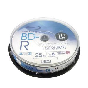 BD-R ブルーレイディスク 25GB CPRM対応 6倍速 ホワイトレーベル 10枚組 Lazos L-B10P/2662x1個 saponintaiga