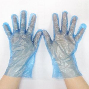 使い捨て手袋 HDポリエチレン手袋x1袋200枚入 OS-GLHDL-3 Lサイズ ブルー(半透明)...
