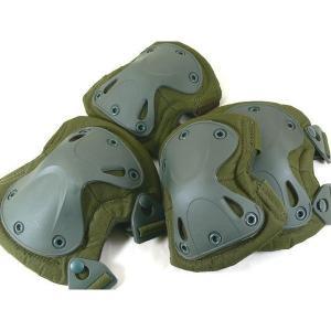 J-FORCE 肘膝パッド4点セット X-TACタイプ・プロテクター/OD(グリーン)|saponintaiga