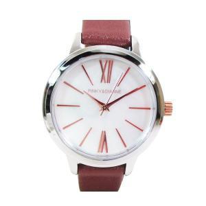 ピンキー&ダイアン 腕時計 革ベルト ブラウン レディース 婦人 PD104SWHBR/1213/送料無料|saponintaiga