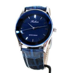 シチズン ファルコン 腕時計 日本製ムーブメント 革ベルト ネイビー/紺 QA36-302 メンズ 紳士|saponintaiga