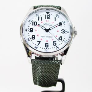シチズン ファルコン 腕時計 日本製ムーブメント ナイロン/革ベルト オリーブ/白 QB38-304 メンズ 紳士|saponintaiga
