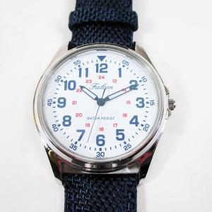シチズン ファルコン 腕時計 日本製ムーブメント ナイロン/革ベルト ネイビー/白 QB38-314 メンズ 紳士|saponintaiga