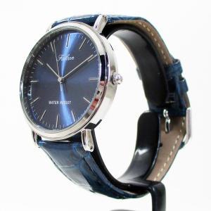 シチズン ファルコン 腕時計 日本製ムーブメント 革ベルト ネイビー Q996-302 メンズ 紳士/送料無料|saponintaiga