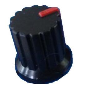<小型ボリューム用ツマミ ノブ・つば付 差込式>Bタイプ 直径φ12×高さ15+つば15mm 赤 2個<res-306> sapporo-boueki