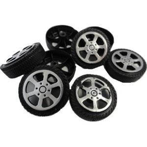<工作用タイヤ><工作用プラスチックタイヤ φ28mm×幅8.5mm 穴2mm プラスチック>8個入<tai-004>|sapporo-boueki