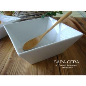 洋食器 超高温1300℃ Temperature  白 スクエアー角鉢 L 18cm カフェ 人気 白い食器 200460000087   |sara-cera-y