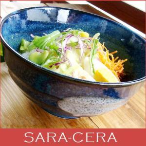 食器 和食器 どんぶり 美濃焼 冷やしとろろうどん 瑠璃色丼ぶり  200350000268|sara-cera-y