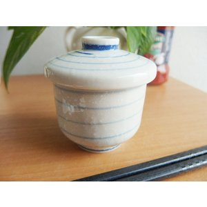 和の器 和食器 茶碗蒸し 蓋付き スープポット 小雪ブルーライン 蒸し碗 日本製|sara-cera-y