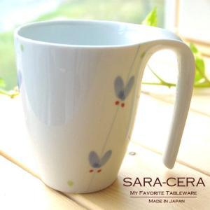【秋SALE!17日まで】有田焼 波佐見焼 和食器 青いスイトピー とっても手に持ちいいマグカップ コップ シンプル おしゃれ 〔お取り寄せ商品〕|sara-cera-y