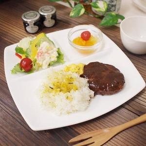 21日までSALE価格!洋食器 アウトレット 強化 スクエアランチプレート 3つ仕切 正方形 24cm 白|sara-cera-y