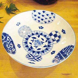 お盆休みセール!和食器 和皿 和食器 藍丸紋 浅鉢 お取り寄せ商品 サラダ 煮物 モダン お洒落 sara-cera-y