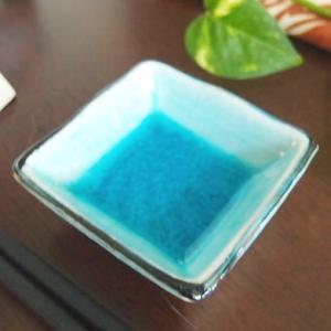21日までSALE価格!和食器 小皿 和食器 クールブルー トルコブルー 流泉ブルー スクエア豆皿   |sara-cera-y