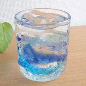 お盆休みセール!グラス ガラス 涼やか琉球ガラス でこロックグラス S 青水色 (お取り寄せ商品) |sara-cera-y