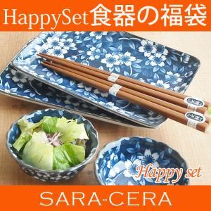 お箸付き 藍桜染付け 焼き物&小鉢6ピースセット ペア2人用  ギフト箱入り 食器セット 和食器 モダン おしゃれ|sara-cera-y