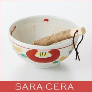 和食器  赤絵6寸すり鉢  ギフト箱入り  すり棒 擂り鉢 調理小物 美濃焼 贈り物 プレゼント おしゃれ モダン 〔お取り寄せ商品〕|sara-cera-y
