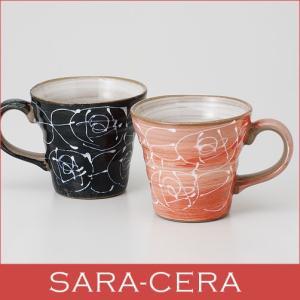和食器  マグカップペア一珍白盛バラ  ギフト箱入り  珈琲 コーヒー コップ 花柄 薔薇 贈り物 プレゼント 〔お取り寄せ商品〕|sara-cera-y