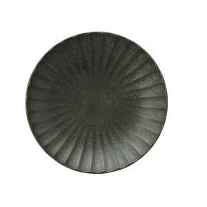 和食器 しのぎかすみ 黒備前マットブラック 12.5cm丸皿|sara-cera-y