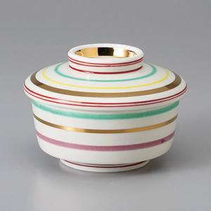 たっぷりなめらか茶碗蒸し碗 蒸し器 カラーストライプ 駒筋 ちゃわんむし 平むし碗 蓋付き煮物椀 菓子碗|sara-cera-y