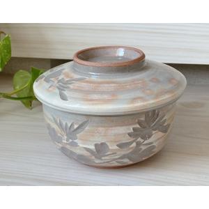 たっぷりなめらか茶碗蒸し碗 蒸し器 土物 古萩彫蘭 ちゃわんむし 平むし碗 蓋付き煮物椀 菓子碗|sara-cera-y