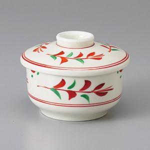 たっぷりなめらか茶碗蒸し碗 蒸し器 赤絵草花 ちゃわんむし 平むし碗 蓋付き煮物椀 菓子碗|sara-cera-y