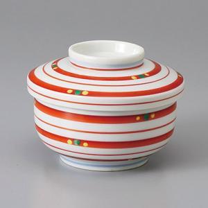 たっぷりなめらか茶碗蒸し碗 蒸し器 赤ストライプライン ちゃわんむし 平むし碗 蓋付き煮物椀 菓子碗|sara-cera-y