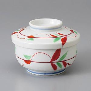たっぷりなめらか茶碗蒸し碗 蒸し器 赤絵花ライン ちゃわんむし 平むし碗 蓋付き煮物椀 菓子碗|sara-cera-y