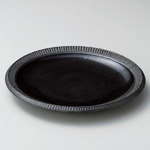 11/26 11:59までSALE!和食器 美濃焼 黒釉 渕十草彫 冷やし中華プレート  パスタ皿|sara-cera-y