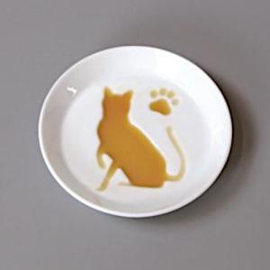 和食器 絵柄が浮き上がるお醤油皿 白磁 白い食器 ねこ 猫 キャット|sara-cera-y