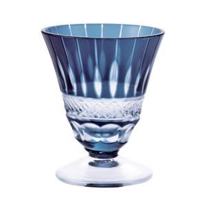 ガラス食器 夢切子 高台 藍 グラス コップ 食前酒 おしゃれ 人気 お取り寄せ商品