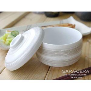 和食器 スープポット かわいい茶碗蒸し 白マット茶刷毛目  |sara-cera-y