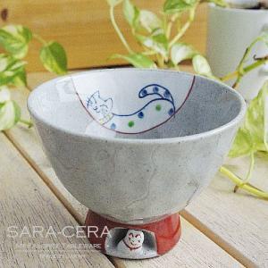有田焼 波佐見焼 和食器 国右ェ門窯 ねこが住んでいる ご飯茶碗 キャット ネコ 猫  波佐見焼 くらわんか椀(お取り寄せ商品)|sara-cera-y
