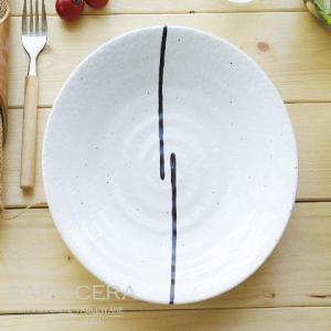 11/26 11:59までSALE!和食器 白釉 2本の藍ライン ランチプレート 渦皿 〔お取り寄せ商品〕 |sara-cera-y