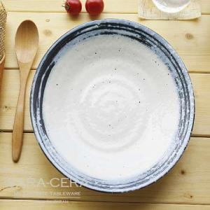 11/26 11:59までSALE!和食器 白釉ブルーライン ランチプレート 渦皿 〔お取り寄せ商品〕 |sara-cera-y