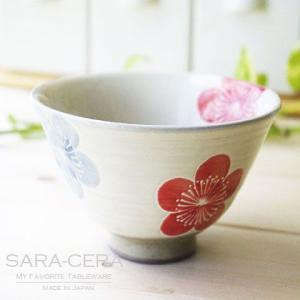 和食器 有田焼 波佐見焼 和食器 粉引梅 ご飯茶碗 赤 小 花柄|sara-cera-y