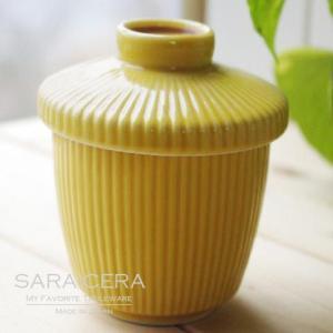 和食器 スープポット 茶碗蒸し ストライプイエロー 幸せ黄色|sara-cera-y