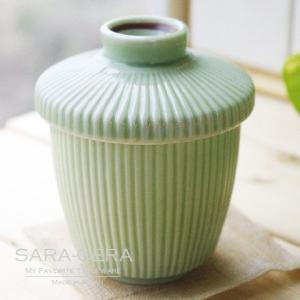 和食器 スープポット 茶碗蒸し ストライプリーフグリーン 若葉緑|sara-cera-y